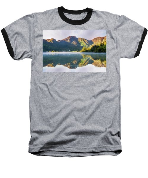 Misty Dawn Lake Baseball T-Shirt by Ian Mitchell