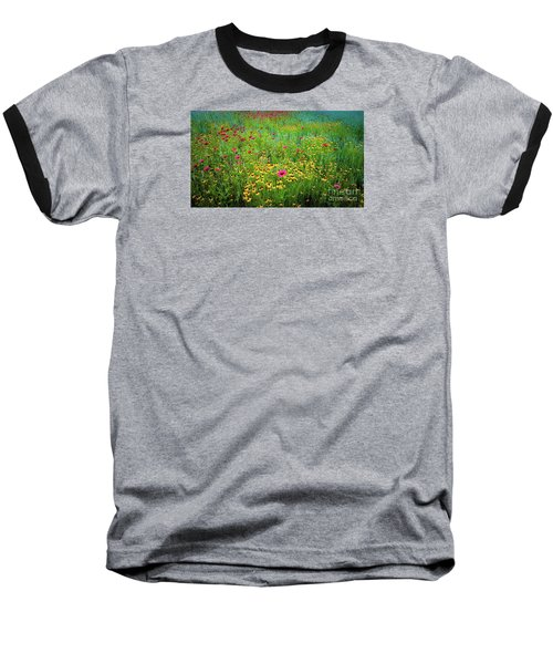 Mixed Wildflowers In Bloom Baseball T-Shirt