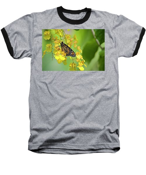 Monarch Butterfly On Yellow Orchids Baseball T-Shirt