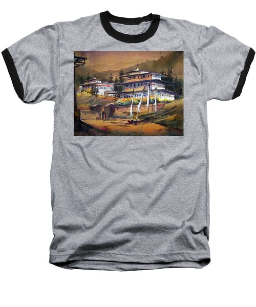 Monastery In Himalaya Mountain Baseball T-Shirt by Samiran Sarkstery in Himalaya Mountainar