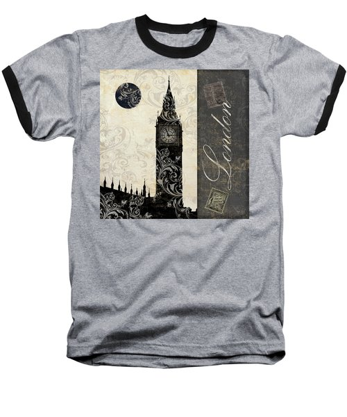 Moon Over London Baseball T-Shirt by Mindy Sommers