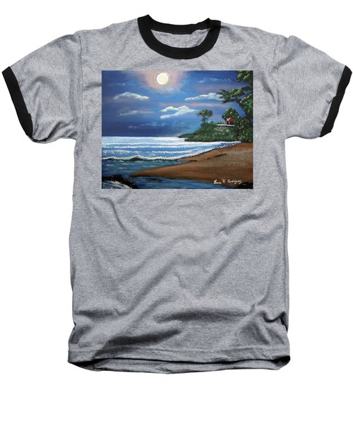 Moonlight In Rincon II Baseball T-Shirt by Luis F Rodriguez