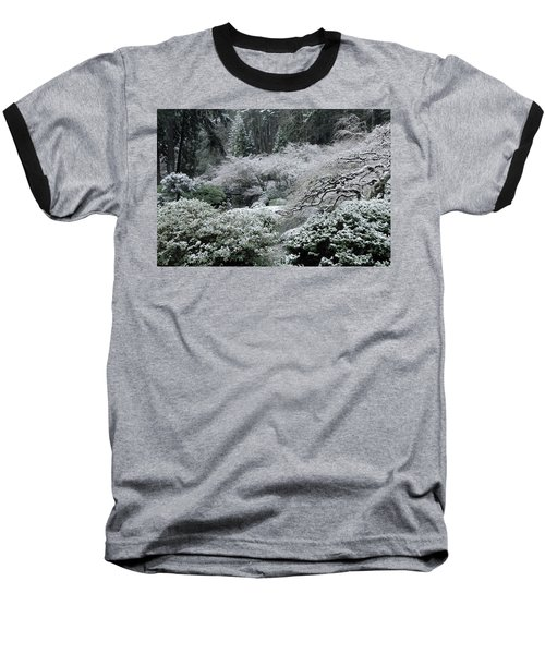 Morning Snow In The Garden Baseball T-Shirt