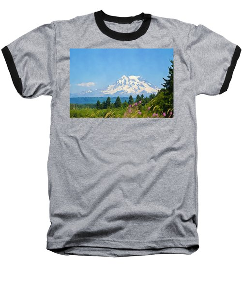 Mount Rainier Watercolor Baseball T-Shirt