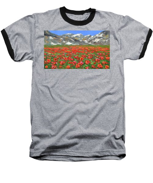 Baseball T-Shirt featuring the painting Mountain Poppies  by Dmitry Spiros