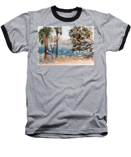 Mt Field Gum Tree Silhouettes Against Salmon Coloured Mountains Baseball T-Shirt