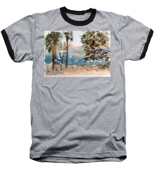 Mt Field Gum Tree Silhouettes Against Salmon Coloured Mountains Baseball T-Shirt