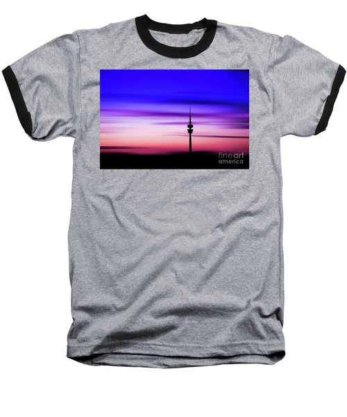 Baseball T-Shirt featuring the photograph Munich - Olympiaturm At Sunset by Hannes Cmarits
