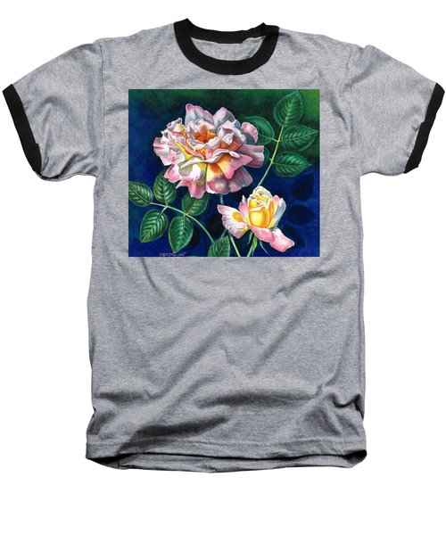 Baseball T-Shirt featuring the painting My Favourite Rose by Val Stokes