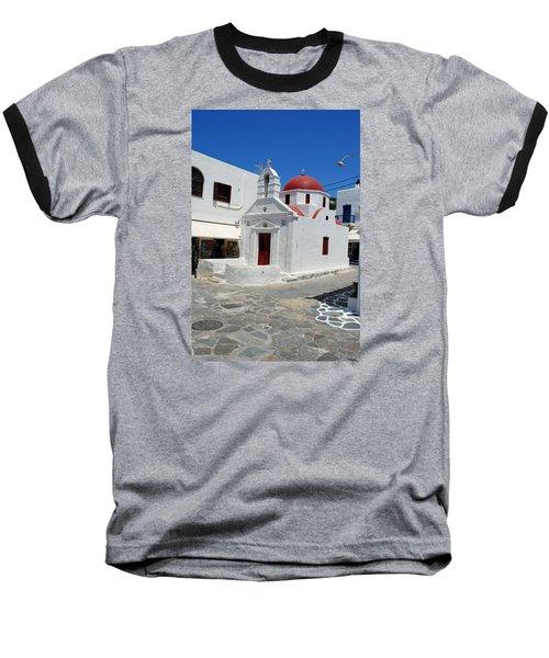 Mykonos Red Chapel Baseball T-Shirt by Robert Moss