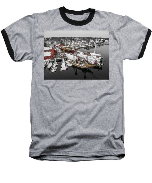 Mystic Seaport In Winter Baseball T-Shirt by Petr Hejl