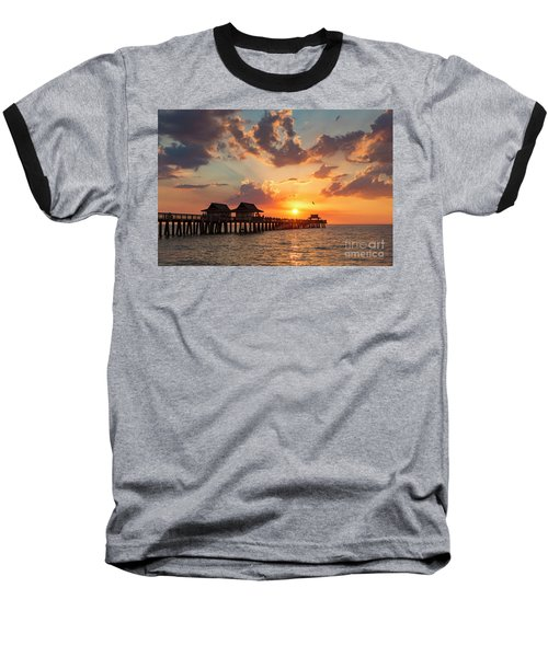 Baseball T-Shirt featuring the photograph Naples Pier At Sunset by Brian Jannsen