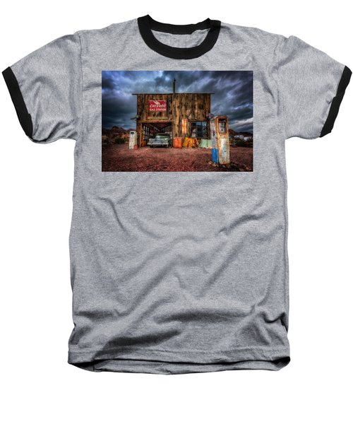 Nelson Nevada, Weathered Garage, Car, And Gas Pump Baseball T-Shirt