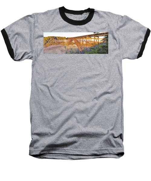 New River Gorge Bridge Morning Fall Panorama Baseball T-Shirt