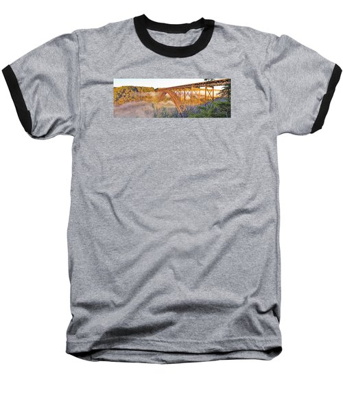 New River Gorge Bridge Morning Fall Panorama Baseball T-Shirt
