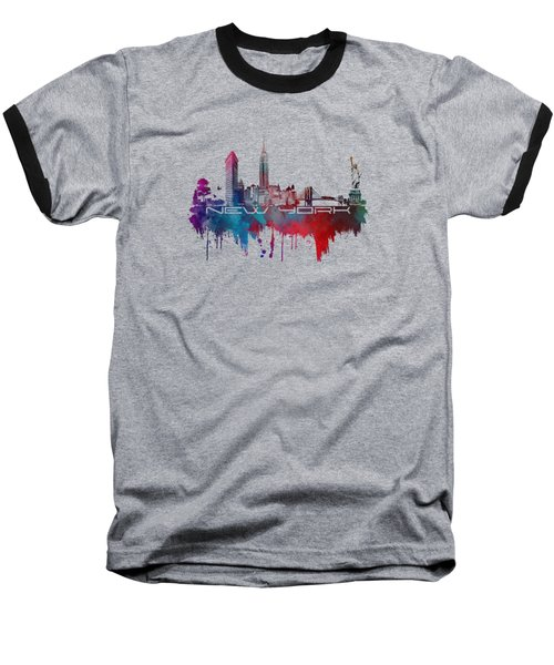 New York City Skyline Blue Baseball T-Shirt by Justyna JBJart