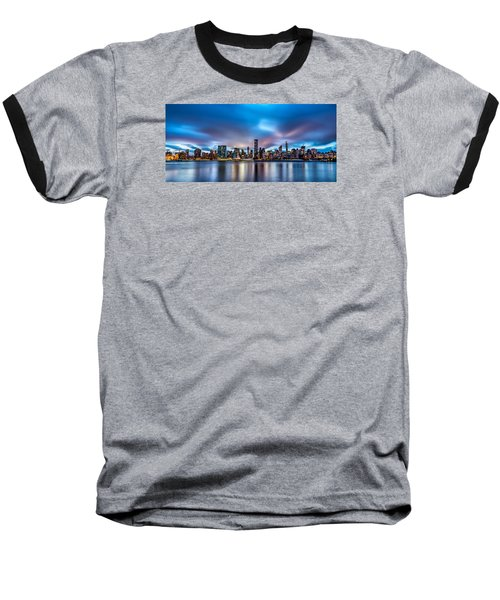 New York City Skyline Baseball T-Shirt by Rafael Quirindongo