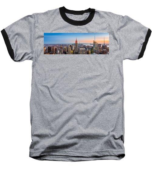 New York Skyline Panorama Baseball T-Shirt