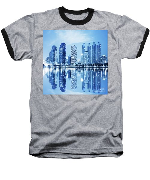 Baseball T-Shirt featuring the photograph Night Scenes Of City by Setsiri Silapasuwanchai
