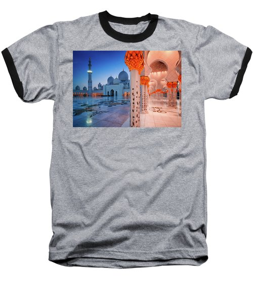 Night View At Sheikh Zayed Grand Mosque, Abu Dhabi, United Arab Emirates Baseball T-Shirt