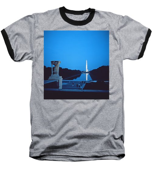 Night View Of The Washington Monument Across The National Mall Baseball T-Shirt by American School