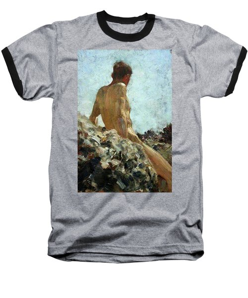 Baseball T-Shirt featuring the painting Nude Study by Henry Scott Tuke