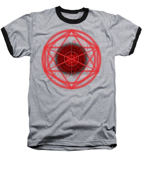 Occult Magick Symbol On Red By Pierre Blanchard Baseball T-Shirt by Pierre Blanchard