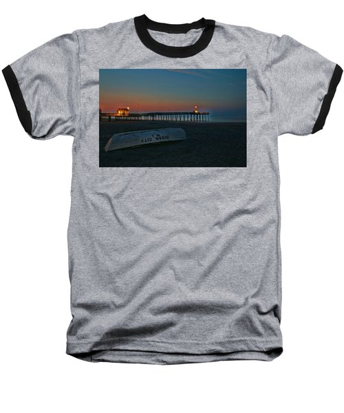 Ocean City  N J Sunrise Baseball T-Shirt by Allen Beatty