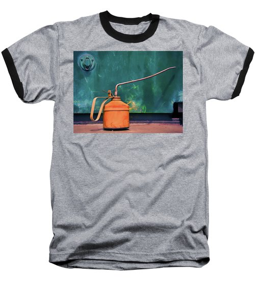 Oil Can On The Engine Baseball T-Shirt by Gary Slawsky