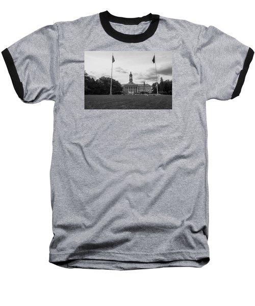 Old Main Penn State Black And White  Baseball T-Shirt by John McGraw