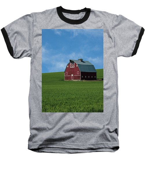 Old Red Barn In The Palouse Baseball T-Shirt by James Hammond