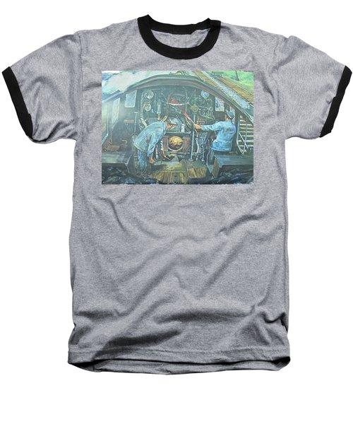 Baseball T-Shirt featuring the painting On The Footplate by Mike Jeffries