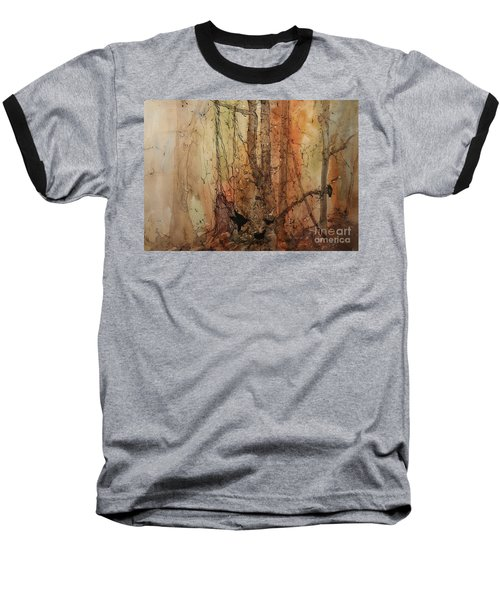 on the Verge Baseball T-Shirt by Elizabeth Carr