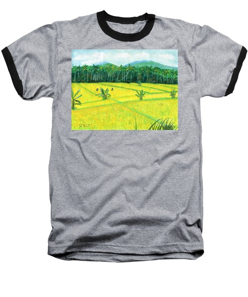 Baseball T-Shirt featuring the painting On The Way To Ubud II Bali Indonesia by Melly Terpening