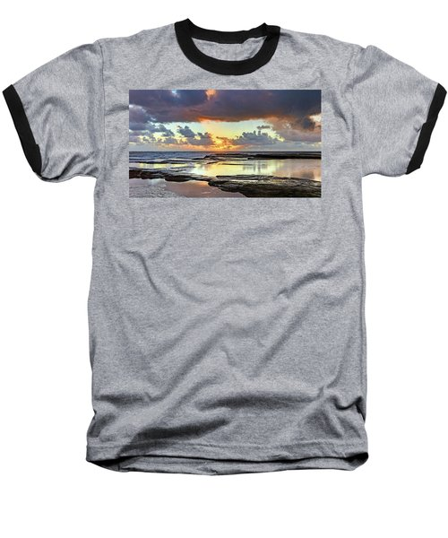 Overcast And Cloudy Sunrise Seascape Baseball T-Shirt