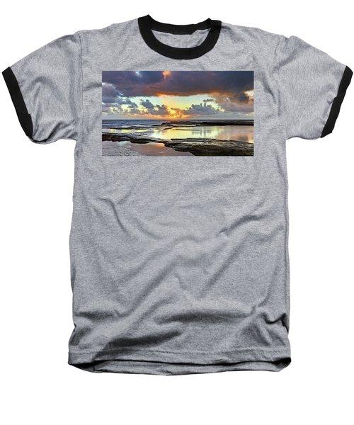 Overcast And Cloudy Sunrise Seascape Baseball T-Shirt