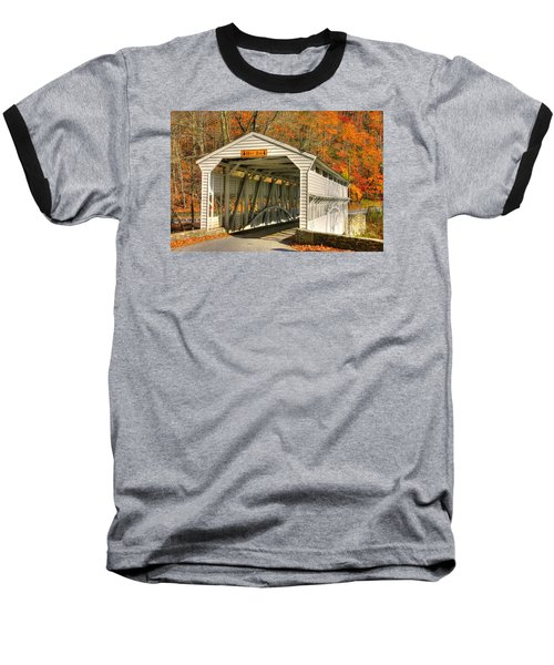 Pa Country Roads - Knox Covered Bridge Over Valley Creek No. 2a - Valley Forge Park Chester County Baseball T-Shirt by Michael Mazaika