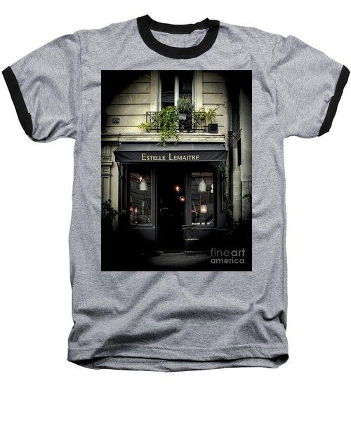 Parisian Shop Baseball T-Shirt by Karen Lewis