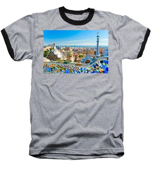 Park Guell Barcelona Baseball T-Shirt by Luciano Mortula