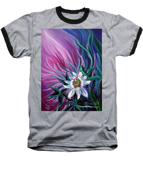 Passion Flower Baseball T-Shirt by Nancy Cupp