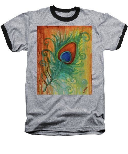 Baseball T-Shirt featuring the painting Peacock Feather by Agata Lindquist