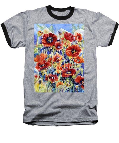 Picket Fence Poppies Baseball T-Shirt