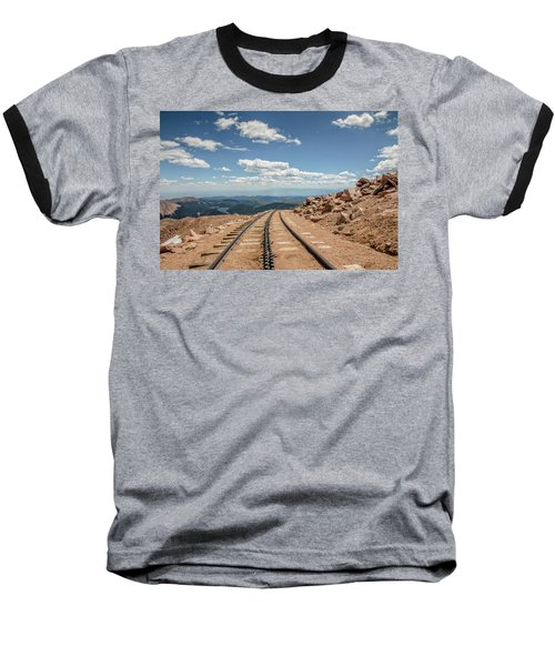 Pikes Peak Cog Railway Track At 14,110 Feet Baseball T-Shirt by Peter Ciro