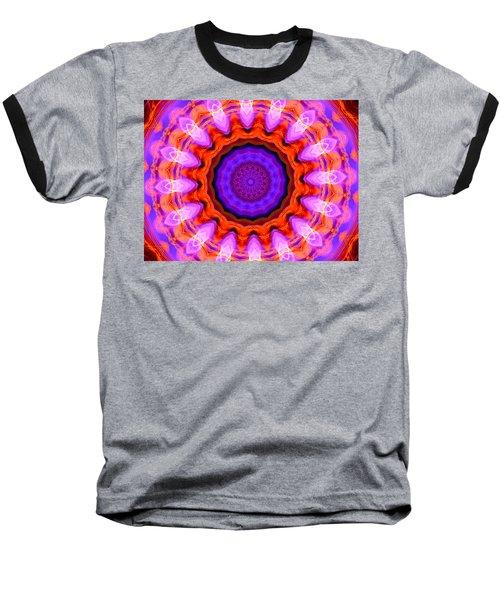 Pink 16-petals Kaleidoscope Baseball T-Shirt by Ernst Dittmar