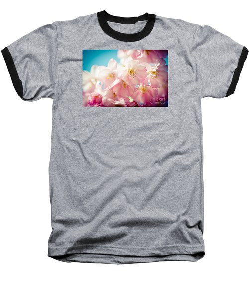 Pink Cherry Blossoms Closeup Baseball T-Shirt