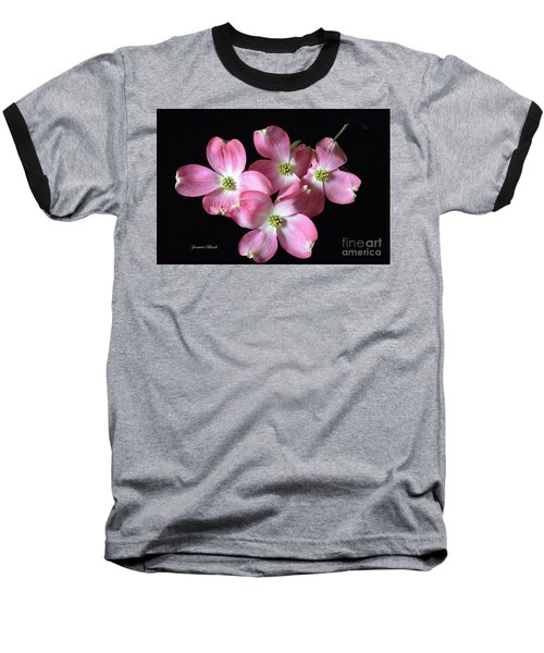 Pink Dogwood Branch Baseball T-Shirt by Jeannie Rhode