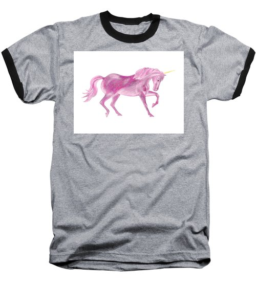 Baseball T-Shirt featuring the mixed media Pink Unicorn by Elizabeth Lock