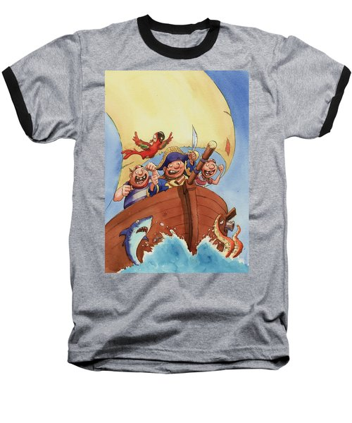 Pirate Ship Baseball T-Shirt