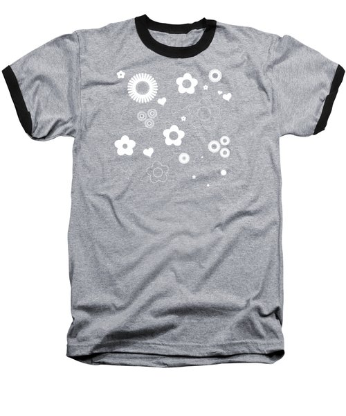Playful Flower Background Baseball T-Shirt by Serena King