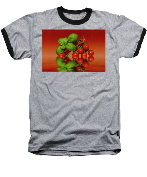 Baseball T-Shirt featuring the photograph Plum Cherry Tomatoes Basil by David French